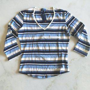 New! Bluenotes striped v-neck 3/4 sleeve top blue